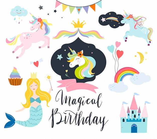 Unicorns-collectie met fantasie-elementen voor verjaardagsevenementen, kaarten of uitnodiging Premium Vector