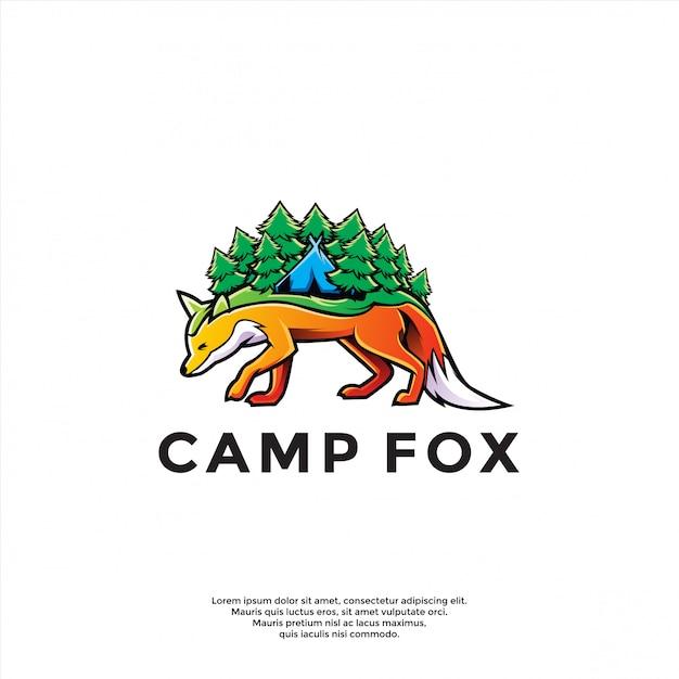 Uniek kamp boven vos logo sjabloon Premium Vector