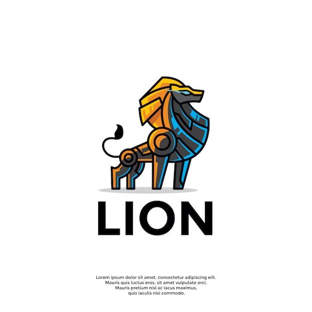 Unieke robot leeuw logo sjabloon Premium Vector