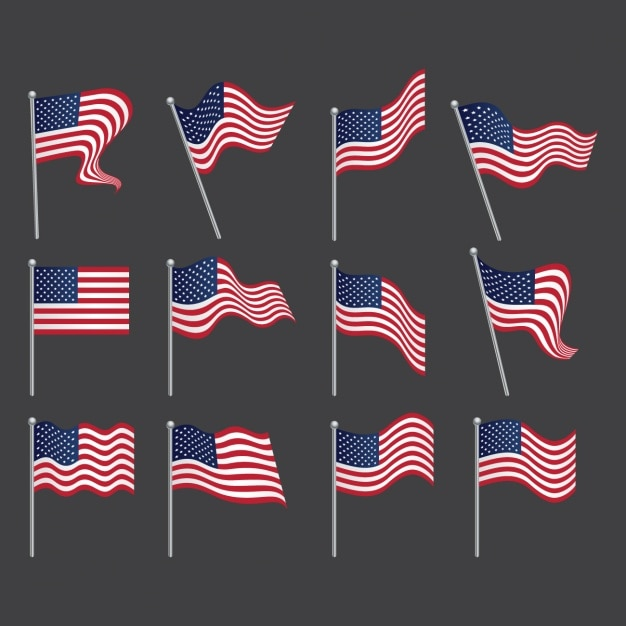 United states flags collectie Gratis Vector