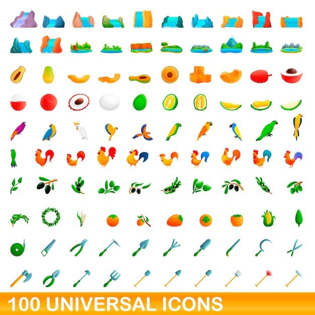 Universele iconen set, cartoon stijl Premium Vector