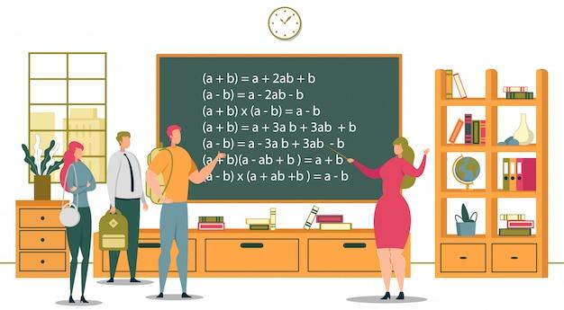 Universitair onderwijs en academische school studenten illustratie Premium Vector