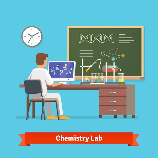 Universitair student doet onderzoek in chemie lab Gratis Vector