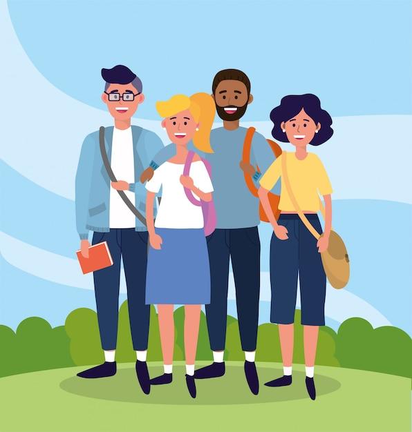 Universitaire mensen met vrijetijdskleding en tassen Premium Vector