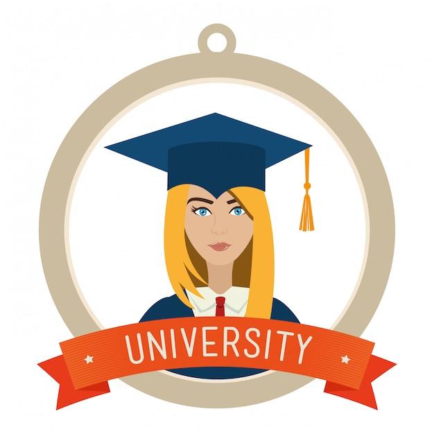 Universitaire studenten afstuderen Gratis Vector