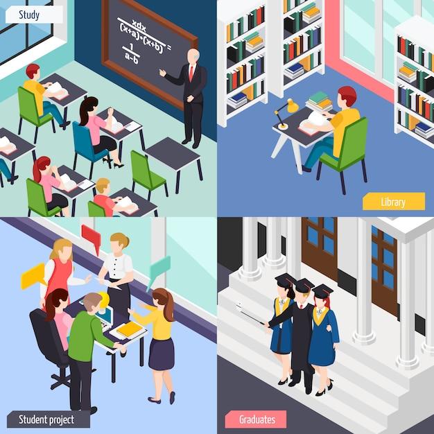 Universitaire studenten in het klaslokaal van de bibliotheeklezing bezig met de reeks van de projectsamenstelling Gratis Vector