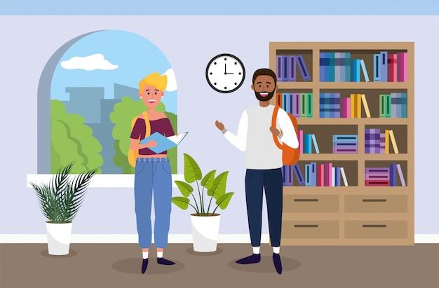 Universiteitsmeisje en jongen met boeken in het klaslokaal Premium Vector