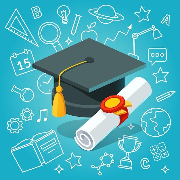 Universiteitsstudent cap mortar board en diploma Gratis Vector