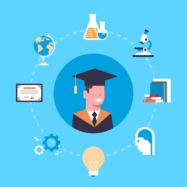 University of college graduation concept student in cap en jurk over onderwijs elementen Premium Vector
