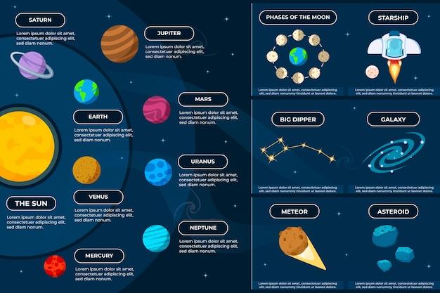 Universum infographic met meteoren en sterrenstelsels Gratis Vector