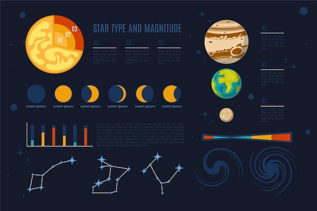 Universum infographic met planeten Gratis Vector