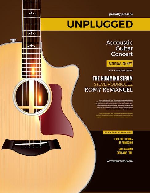 Unplugged akoestische gitaar concertposter Premium Vector
