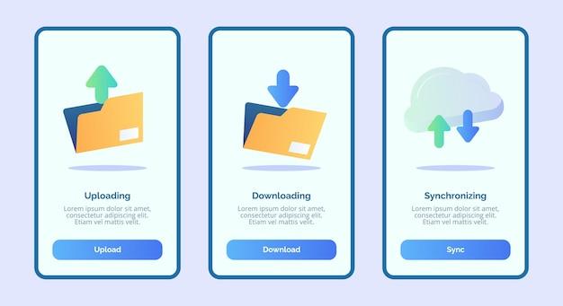 Uploaden downloaden synchroniseren voor sjabloonbannerpagina van mobiele apps Premium Vector