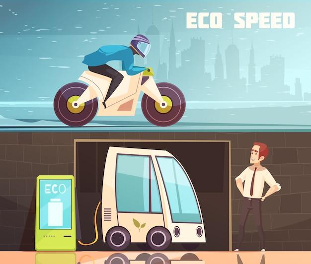 Urban eco transport horizontale banner set Gratis Vector