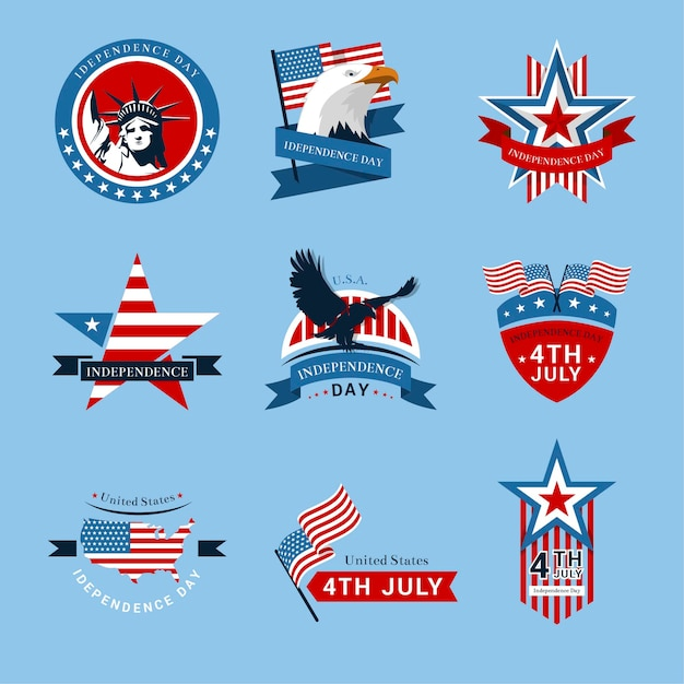 Us independence day-etiketten of -badges Premium Vector