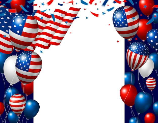 Usa 4 juli onafhankelijkheidsdag achtergrondontwerp van amerikaanse vlag en ballonnen Premium Vector