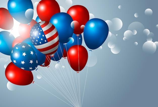 Usa 4 juli onafhankelijkheidsdag met ballonnen Premium Vector