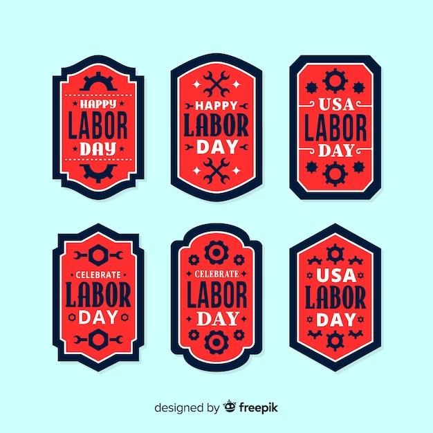 Usa arbeidsdag labels in vlakke stijl Gratis Vector