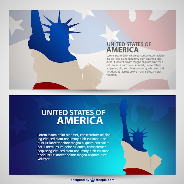 Usa banners vector pack Gratis Vector