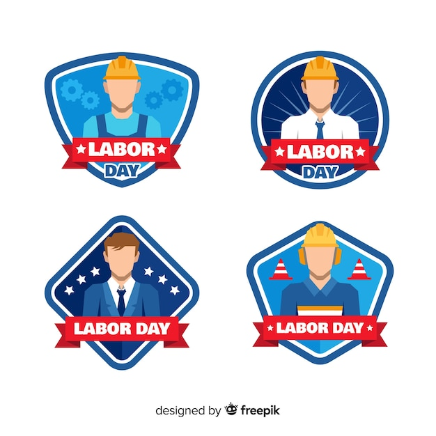 Usa dag van de arbeid badge collectie in vlakke stijl Gratis Vector