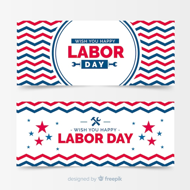 Usa dag van de arbeid banners in vlakke stijl Gratis Vector
