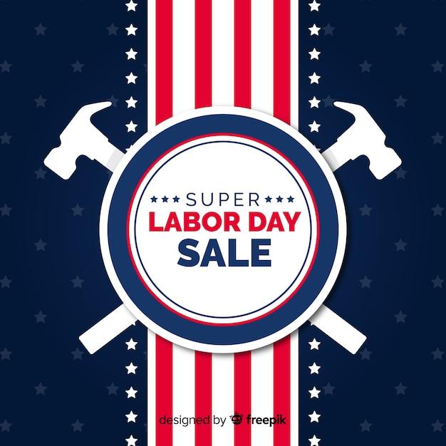 Usa dag van de arbeid verkoop achtergrond in vlakke stijl Gratis Vector
