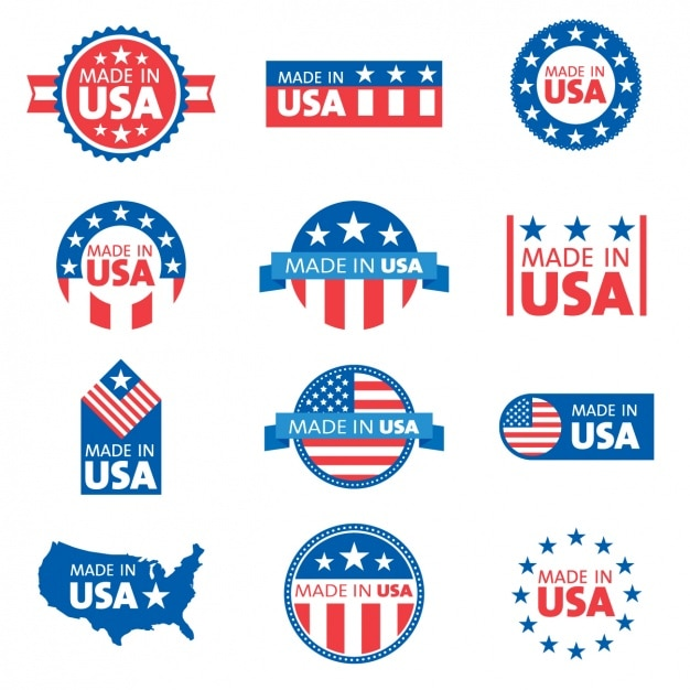 Usa etiketten collectie Gratis Vector