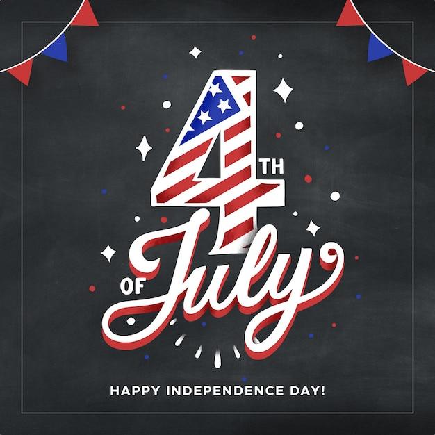 Usa onafhankelijkheidsdag belettering Gratis Vector