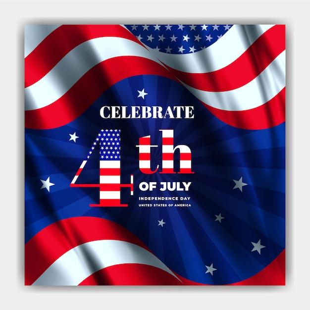 Usa onafhankelijkheidsdag viering sjabloon voor sociale media-spandoek Premium Vector