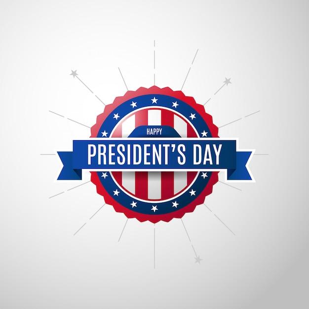 Usa president's day achtergrond met badge Premium Vector