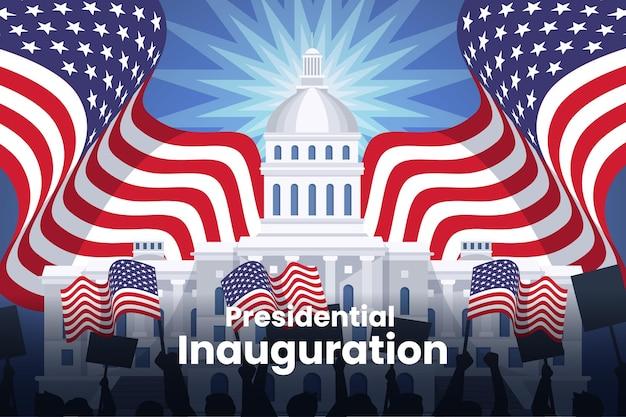 Usa presidentiële inauguratie illustratie met wit huis en vlaggen Gratis Vector