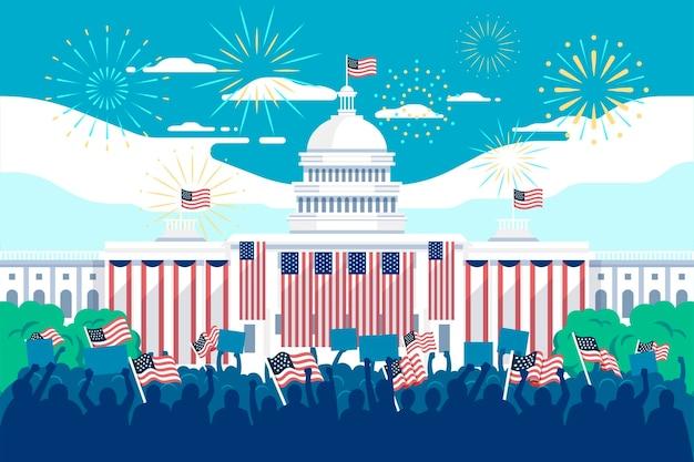 Usa presidentiële inauguratie illustratie met wit huis en vuurwerk Gratis Vector