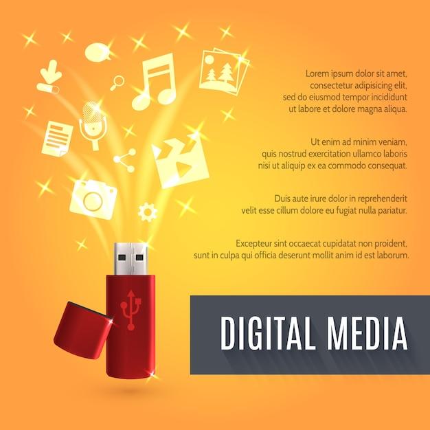 Usb flash drive media Gratis Vector