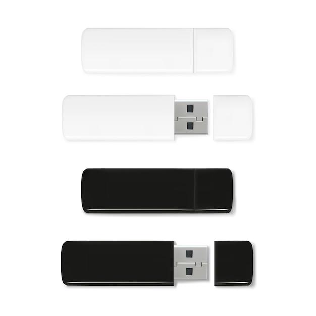 Usb flash drives illustratie van 3d-realistische geheugenstick. zwart en wit plastic mockup Gratis Vector