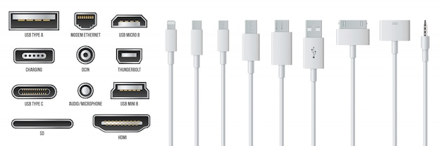 Usb-, mini-, micro-, bliksem-, type a-, b- en c-stekkers. Premium Vector