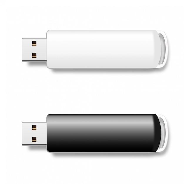 Usb-pen drives, zwart-witte flash-schijven Premium Vector