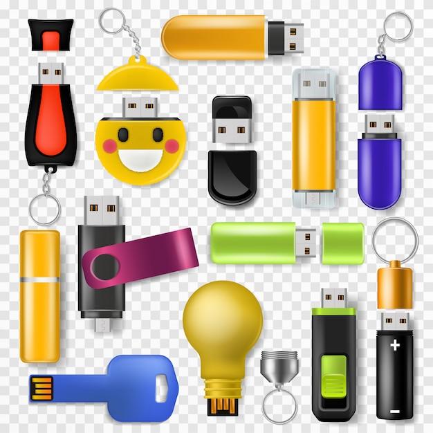 Usb vector flash drive geheugenopslag en digitaal overdrachtsapparaat naar computer illustratie set Premium Vector