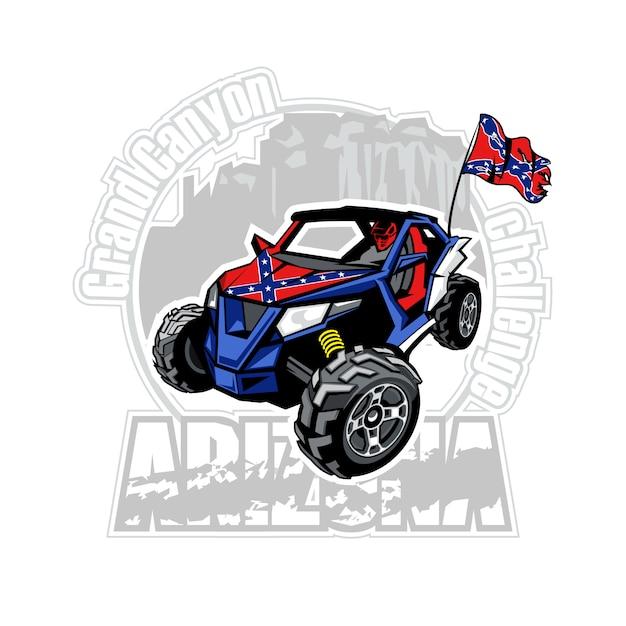 Utv-auto op het embleem van de grand canyon van arizona met verbonden vlag Premium Vector