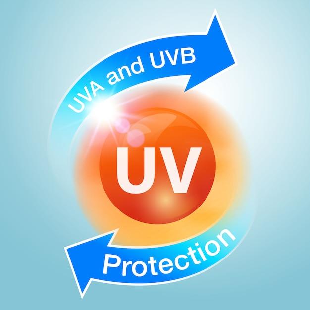 Uv-beschermingspictogrammen worden gebruikt om sunblock te adverteren. Premium Vector