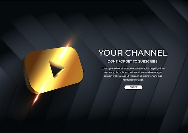 Uw kanaal social media abonneren sjabloon gouden knop Premium Vector