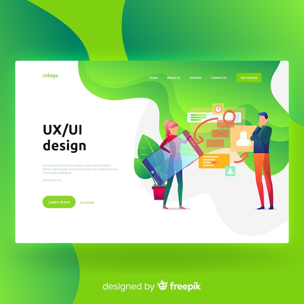 Ux, ui ontwerp bestemmingspagina Gratis Vector