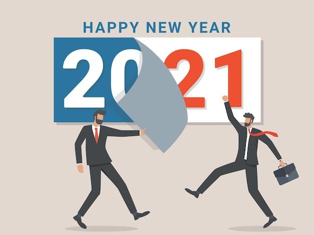 Vaarwel 2020. een zakenman scheurt een kalenderblad van het uitgaande jaar af. afscheid nemen van komend jaar. Premium Vector