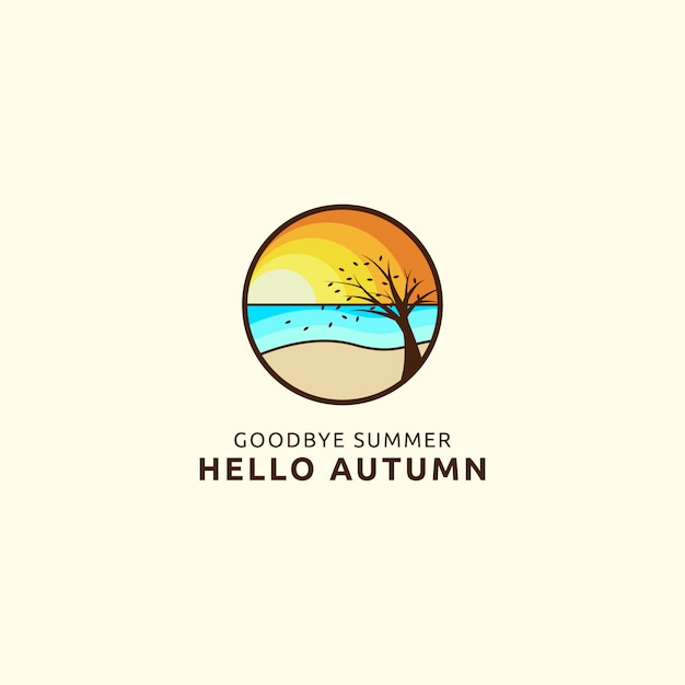 Vaarwel zomer hallo herfst logo met strand en boom concept Premium Vector