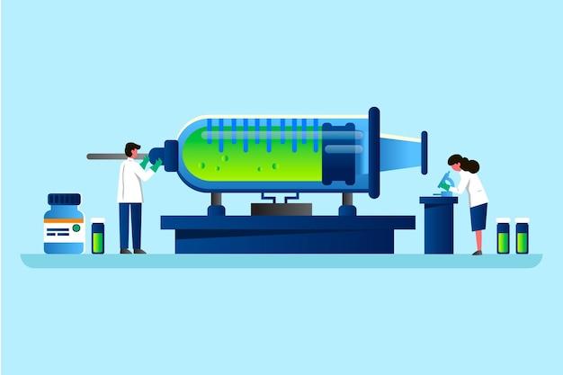 Vaccin ontwikkelingsconcept Premium Vector