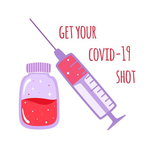 Vaccinatie concept banner. vaccin geschoten om te beschermen tegen ziekten in cartoon-stijl. immunisatie tegen covid-19, illustratie. Premium Vector
