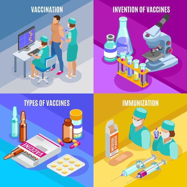 Vaccinatie isometrisch concept met composities van medische benodigdheden glazen buizen met vaccins en mensen Gratis Vector