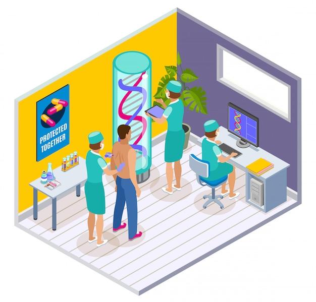 Vaccinatie isometrische binnensamenstelling met kliniek chirurgische kamer interieurelementen en patiënt wordt ingeënt door artsen Gratis Vector