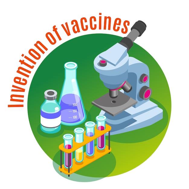 Vaccinatie isometrische illustratie met afbeeldingen van microscoop en glazen buizen gevuld met kleurrijke vloeistoffen met tekst Gratis Vector