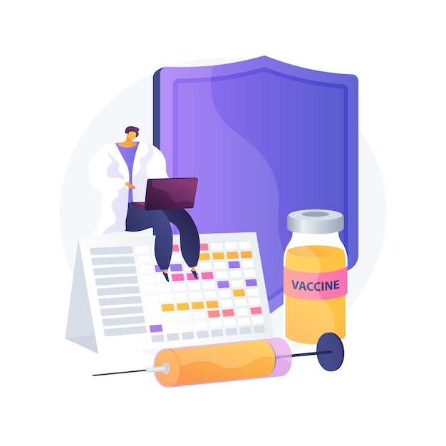 Vaccinatie programma abstract concept vectorillustratie. informatie over vaccinatie, immunisatieprogramma, preventie van infectieziekten, vaccin, gezondheidsbescherming, abstracte metafoor voor de openbare gezondheidszorg. Gratis Vector