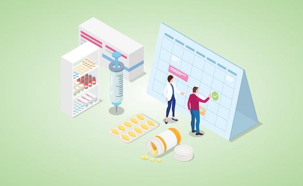 Vaccinatie tijd mark kalender met verschillende spuit en medicijnpillen met isometrische moderne vlakke stijl Premium Vector